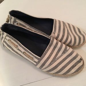 NAUTICAL flats with stripes in grey and white